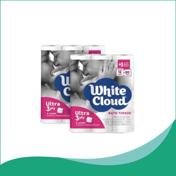 Giấy Vệ Sinh 3 Lớp White Cloud 12 Cuộn